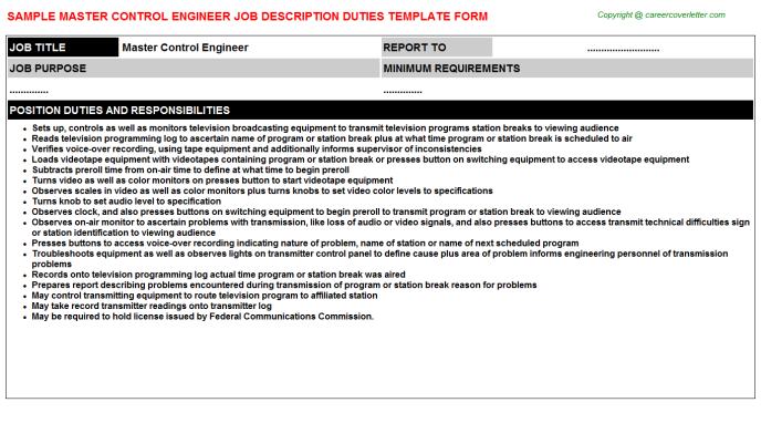master control engineer job description template