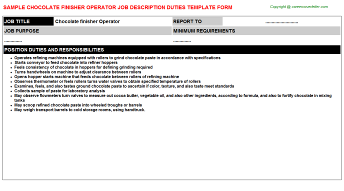 chocolate finisher operator job description template