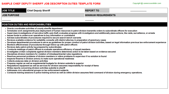 chief deputy sheriff job description
