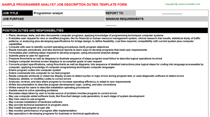programmer analyst job description template