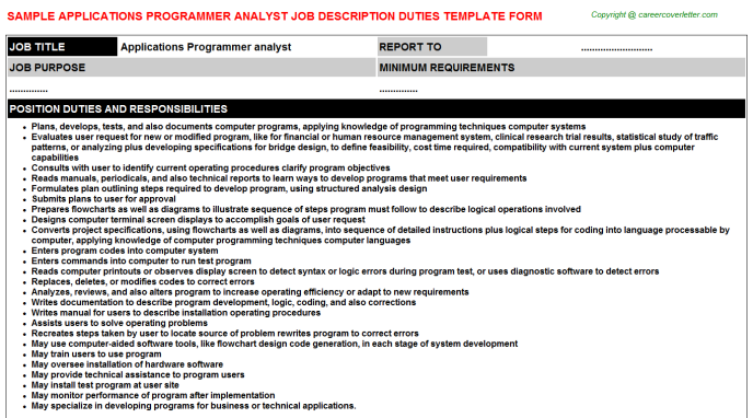 applications programmer analyst job description template
