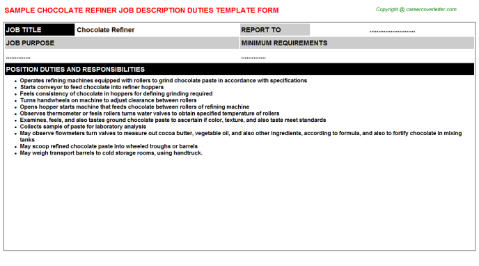 chocolate refiner job description template