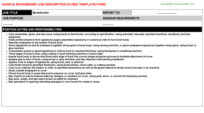 Bookbinder Job Description Template