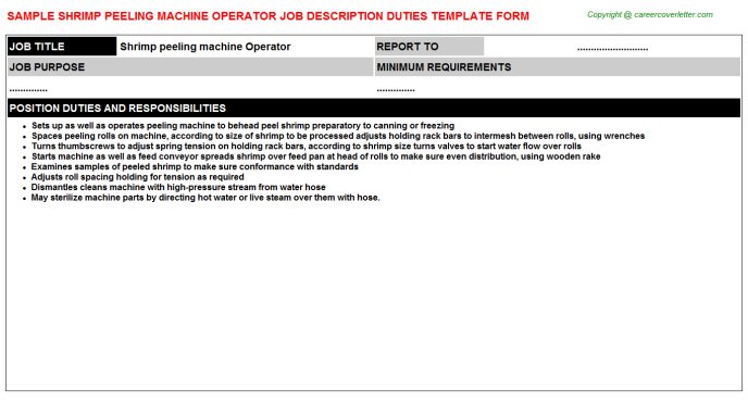 shrimp peeling machine operator job description template