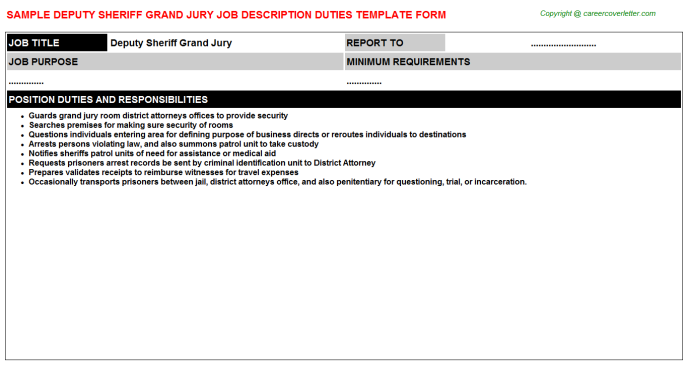 Deputy Sheriff Grand Jury Job Description Template