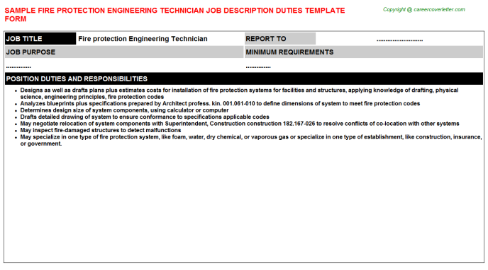 Fire Protection Engineering Technician - Free Docs Templates ...