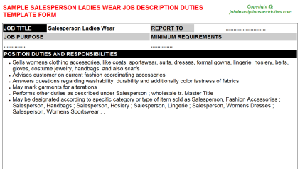 Salesperson Ladies Wear Job Description Duties Template