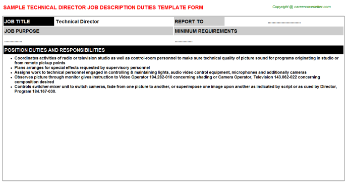 Technical Director Job Description Template