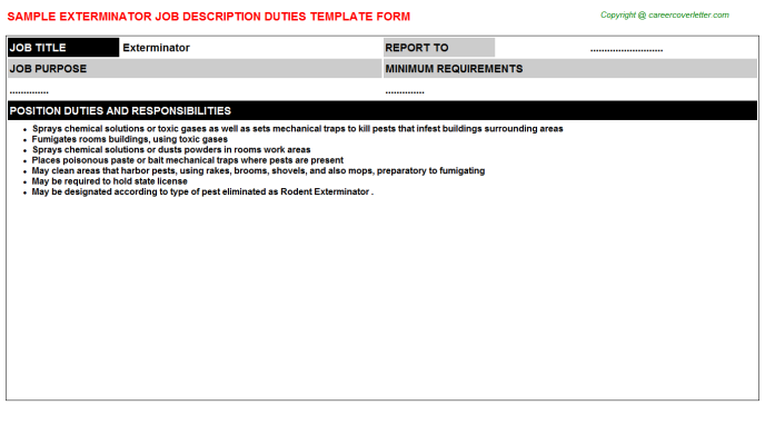 Exterminator Job Description Template