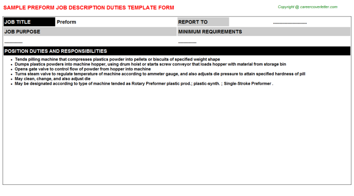 Preform Job Description Template