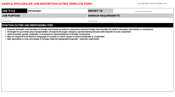 Wholesaler Job Description Template