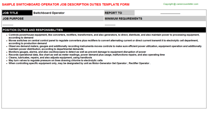 Switchboard Operator Job Description Template