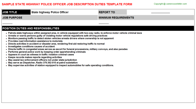 State highway police officer career job description (#5145)
