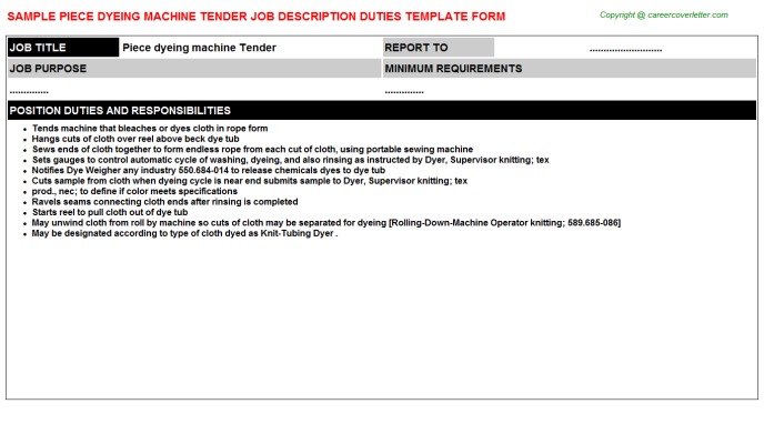 piece dyeing machine tender job description template
