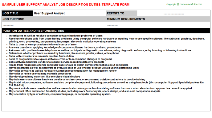 User Support Analyst Job Description Example Job Description Examples