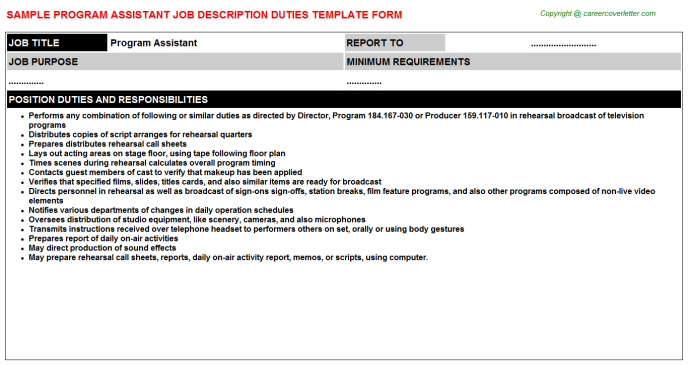 Program Assistant Job Description Template