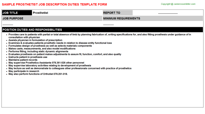 Prosthetist Job Description Template