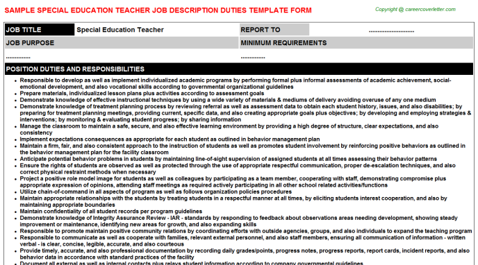 Special Education Teacher Job Description Template