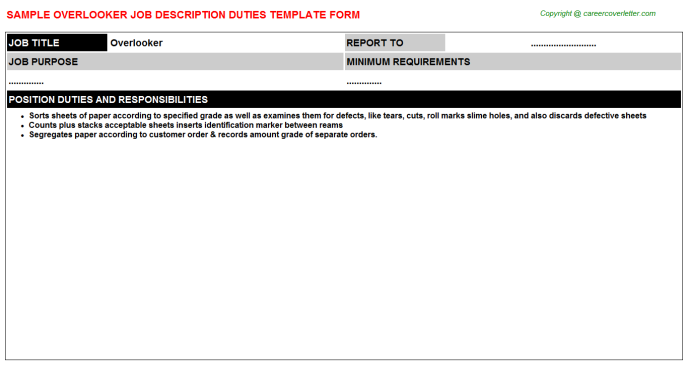 Overlooker Job Description Template
