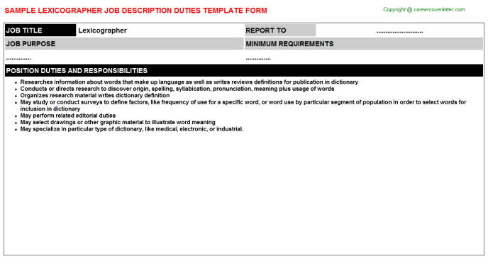 Lexicographer Job Description Template