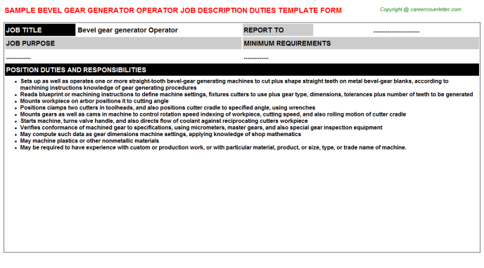 Bevel gear generator Operator Job Description Duties Template