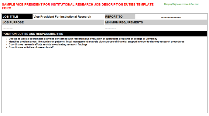 vice president for institutional research job description template