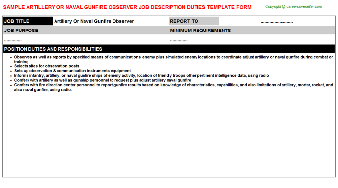 artillery or naval gunfire observer job description template