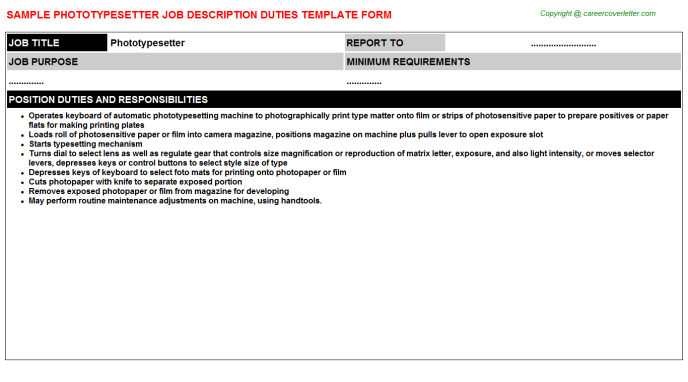 Phototypesetter Job Description Template