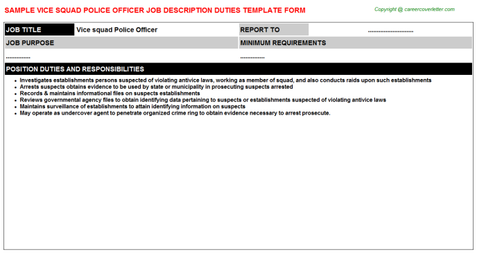 Vice squad police officer career job description (#5159)