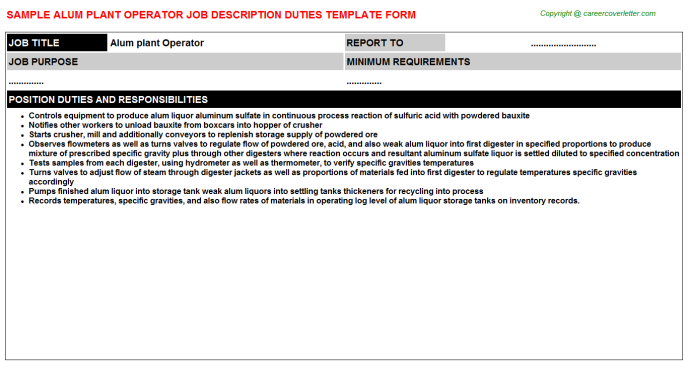 Alum Plant Operator Job Description Template