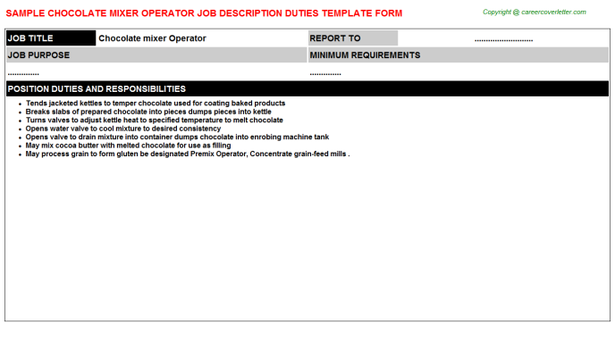 Chocolate mixer Operator Job Description Template