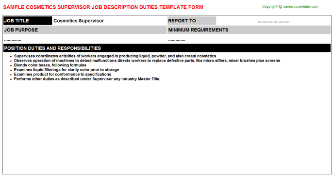 cosmetics supervisor job description template