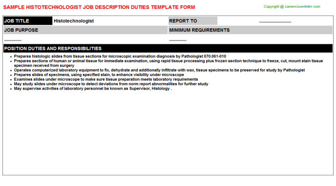 Histotechnologist Job Description Template
