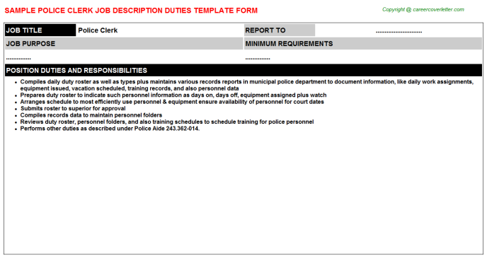 police clerk job description template