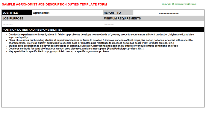 Agronomist Job Description Template
