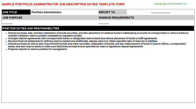 portfolio administrator job description template