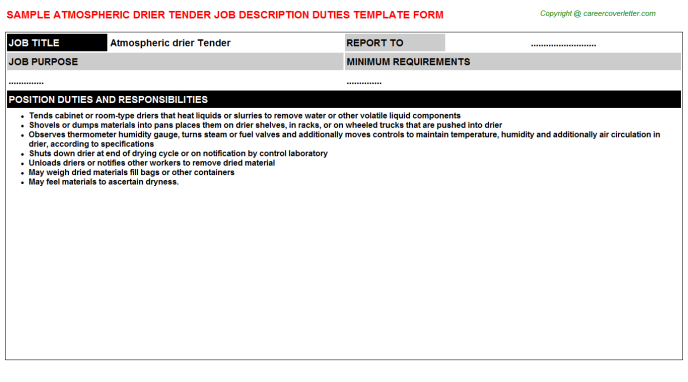 Atmospheric drier Tender Job Description Template