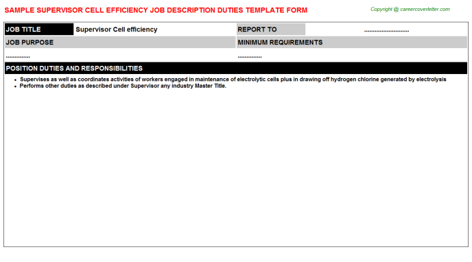 supervisor cell efficiency job description template