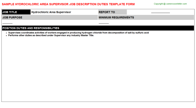 hydrochloric area supervisor job description template