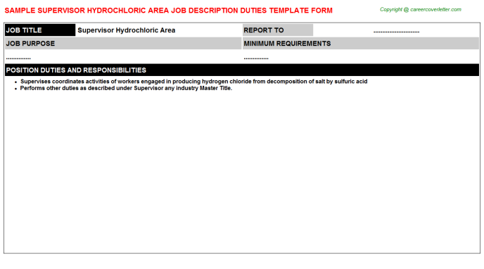 supervisor hydrochloric area job description template