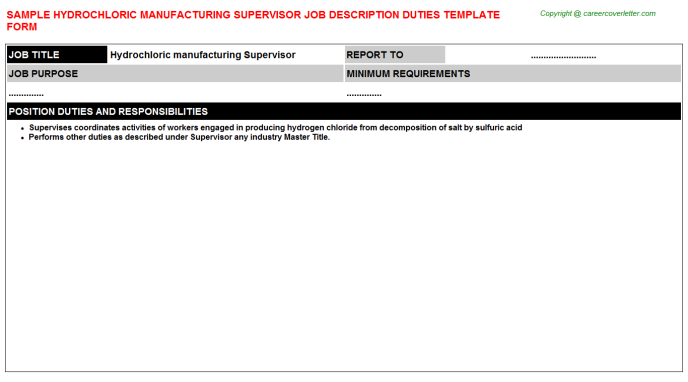 hydrochloric manufacturing supervisor job description template