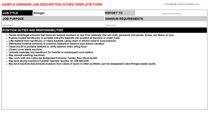 Wringer Job Description Template