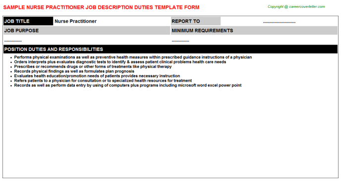 Nurse Practitioner Job Description Template