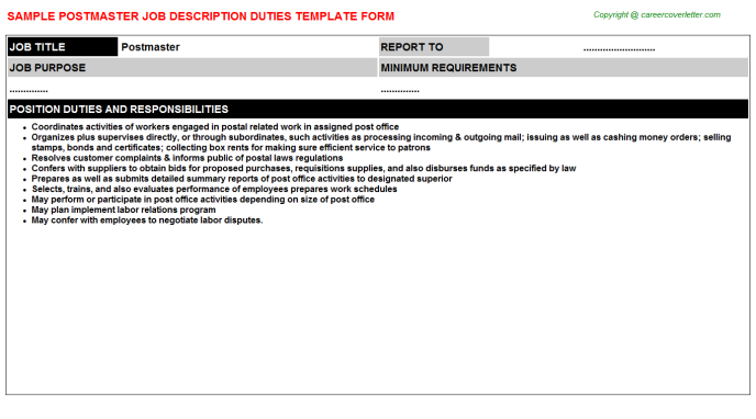 Postmaster Job Description Template