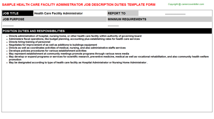 health care facility administrator job description template