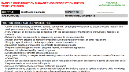 Construction Manager Job Description Duties Template