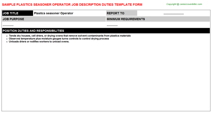 plastics seasoner operator job description template
