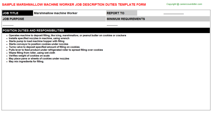 Marshmallow Machine Worker - Free Doc Format Templates