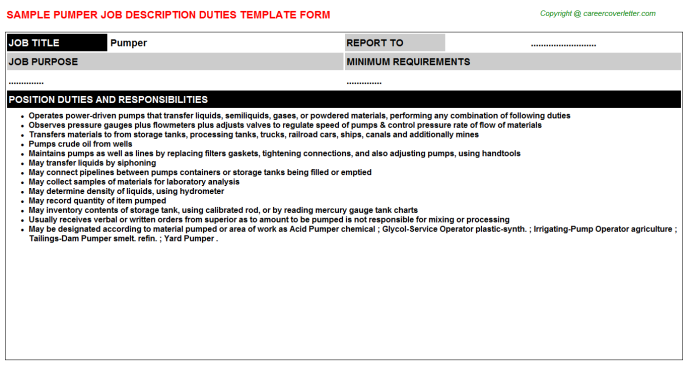 Pumper Job Description Template