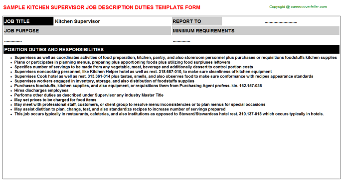Kitchen Supervisor Career Templates Examples